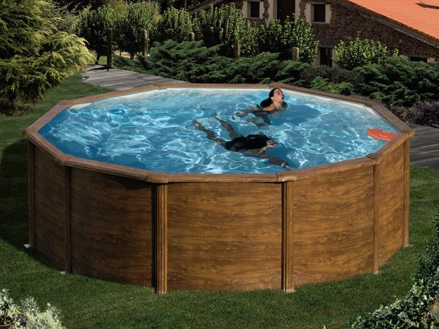 mypool pool komplettset feeling durchmesser 4 6 m h he 120 cm l holzoptik. Black Bedroom Furniture Sets. Home Design Ideas