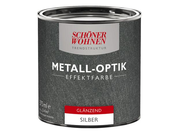 sch ner wohnen trendstruktur metall optik effektfarbe silber 375 ml gl nzend. Black Bedroom Furniture Sets. Home Design Ideas