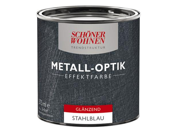 sch ner wohnen metall optik effektfarbe trendstruktur stahlblau 375 ml gl nzend. Black Bedroom Furniture Sets. Home Design Ideas