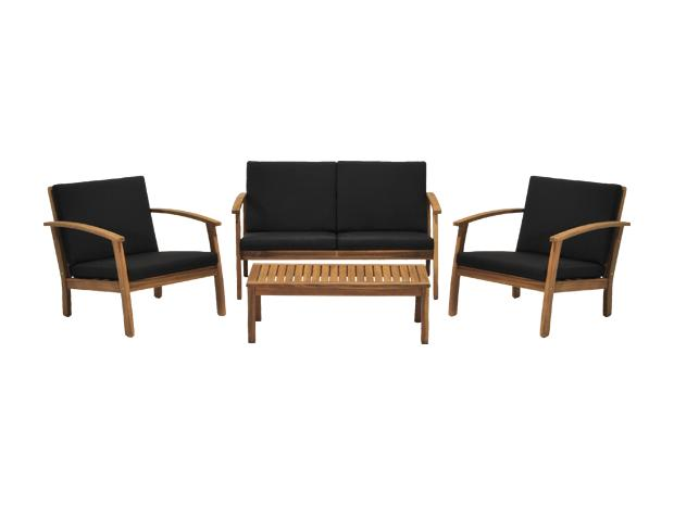 sun fun loungem bel set diana naturbraun holz 4 tlg. Black Bedroom Furniture Sets. Home Design Ideas