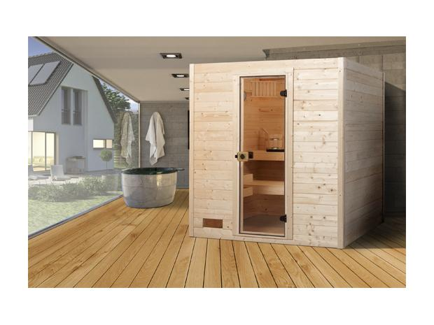 weka samu massivholz sauna mit 7 5 kw ofen mit externer steuerung 139 x 189 x 203 cm. Black Bedroom Furniture Sets. Home Design Ideas