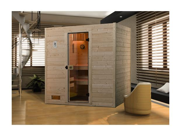 weka lotta massivholz sauna mit 8 kw saunaofen mit integrierter steuerung 172 x 189 x 203 cm. Black Bedroom Furniture Sets. Home Design Ideas