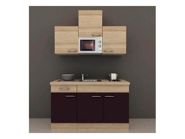 singlek che sofia breite 150 cm akazie aubergine mit kochfeld und mikrowelle. Black Bedroom Furniture Sets. Home Design Ideas