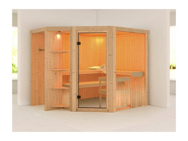 karibu tarvo systemsauna mit sauna bio ofen 9 kw inkl steuerung modern 196 x 196 x 198 cm. Black Bedroom Furniture Sets. Home Design Ideas