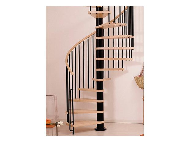 fontanot ark spindeltreppe klan durchmesser 120 cm schwarz farbe stufen buche hell. Black Bedroom Furniture Sets. Home Design Ideas