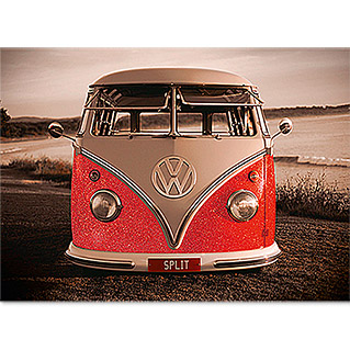 Decopanel Glam Rock (VW Red Kombi, 90 x 60 cm)