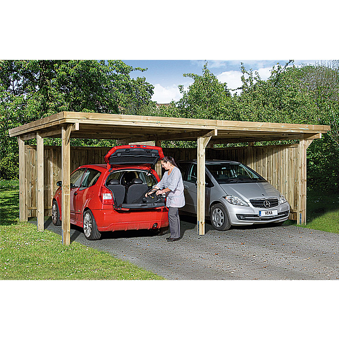 weka doppelcarport optima duo 5 12 x 6 03 m einfahrtsh he 2 15 m schneelast 1 25 kn m. Black Bedroom Furniture Sets. Home Design Ideas