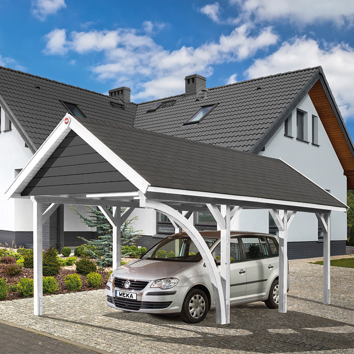 weka carport satteldach 6 39 x 3 6 m einfahrtsh he 2 17 m schneelast 2 kn m bauhaus. Black Bedroom Furniture Sets. Home Design Ideas