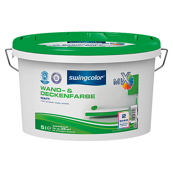 Swingcolor Mix Wandfarbe (Basismischfarbe, 5 L, Matt