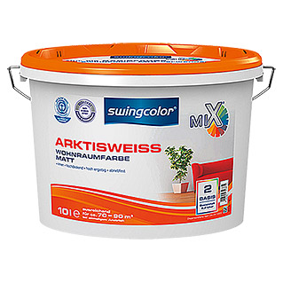 swingcolor Mix Wandfarbe Arktisweiß Basis 2 (Basismischfarbe, 10 l, Matt)