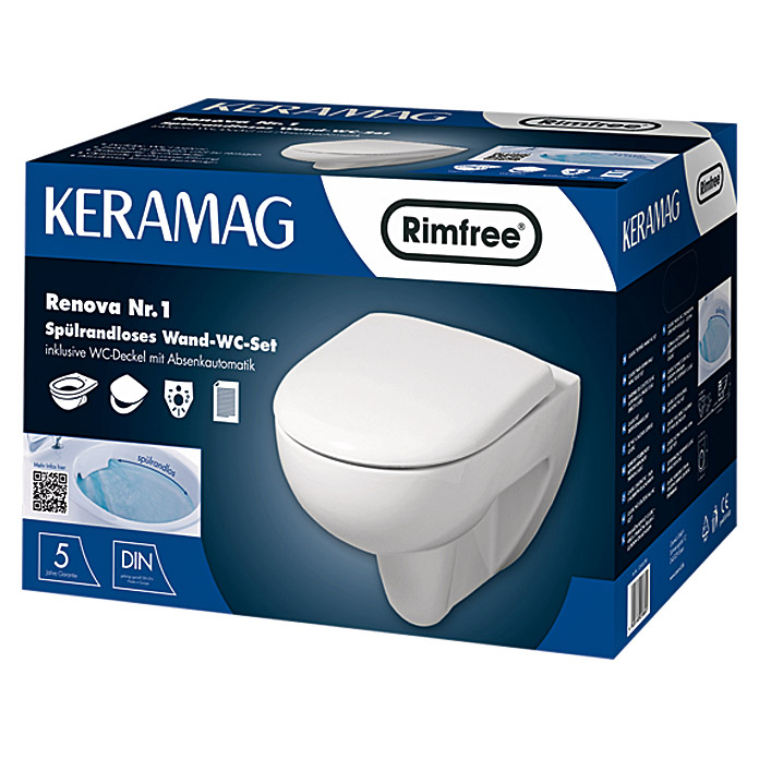 keramag renova nr 1 sp lrandloses wand wc set mit wc. Black Bedroom Furniture Sets. Home Design Ideas