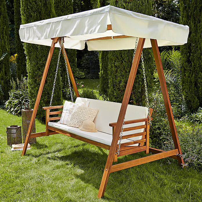 Hollywoodschaukel Holz Garten ~ Sunfun Elements Hollywoodschaukel Diana (217 x 132 x 202 cm, Braun