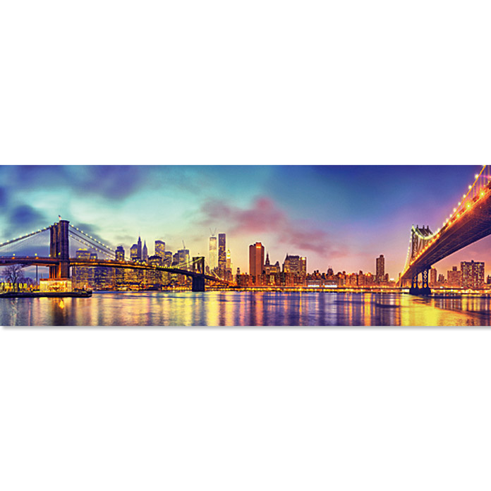 Giclee mit Glitzer-Applikation (Colourful Skyline, 189 x 62 cm)