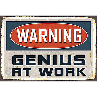 STAHLSCHILD WARNING GENIUS AT WORK 45X30cm
