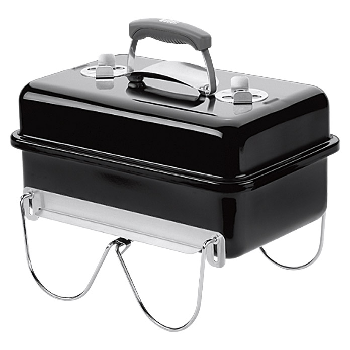 Weber Go-Anywhere Barbacoa de carbón vegetal (Negro, Superficie parrilla principal: 42 x 26 cm)