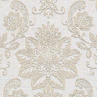AS Creation Vliestapete Shabby Style (Beige/Creme/Metallic, Ornament, 10,05 x 0,53 m)