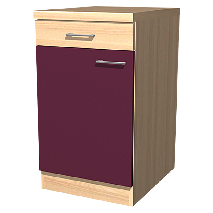 sofia unterschrank 57 x 50 x 85 cm dekor front akazie aubergine 4155 mitnahmekuechen. Black Bedroom Furniture Sets. Home Design Ideas