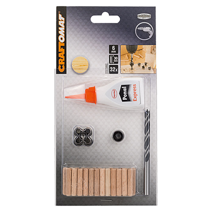 Craftomat Holzdübel-Set (Ø x L: 6 mm x 30 mm, 32-tlg.)