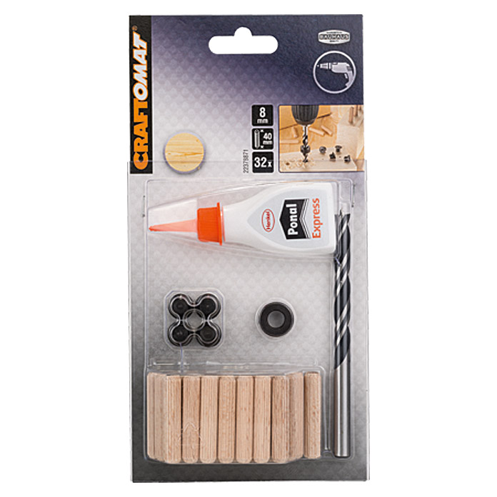 Craftomat Holzdübel-Set (Ø x L: 8 x 40 mm, 32-tlg.)