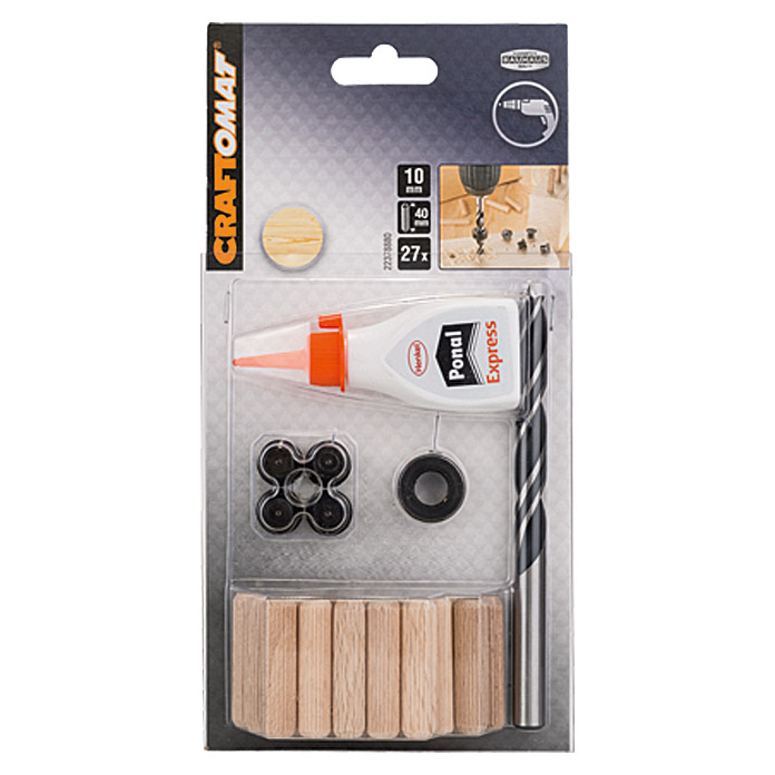 Craftomat set de espigas de madera x l 10 x 40 mm 32 for Espigas de madera