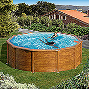 myPool Pool-Set Feeling (730 x 375 x 120 cm, Holzoptik, 27.000 l)