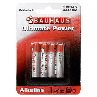 BAUHAUS Alkaline-Batterie Ultimate Power (Micro AAA, 4er)