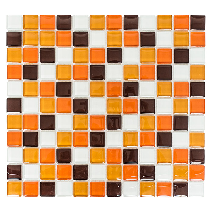 Mosaikfliese Quadrat Crystal Mix XCM 8270 (Braun/Orange/Weiß)