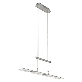 LED-Pendelleuchte (4-flammig, 4 x 5 W, Warmweiß, Nickel matt, Höhenverstellbar: 90 - 175 cm)