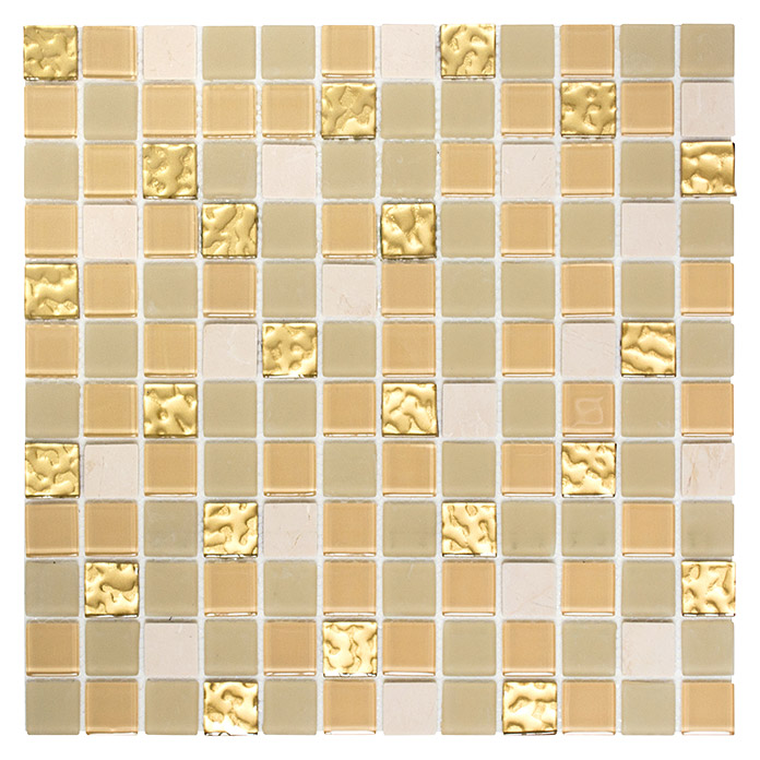 Mosaikfliese Crystal Mix SAM 4M362 (Weiß/Gold)