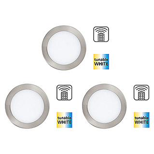 Tween Light Set de focos LED empotrables (3 × 11 W, Blanco, Diámetro: 170 mm, Níquel mate, Intensidad regulable)