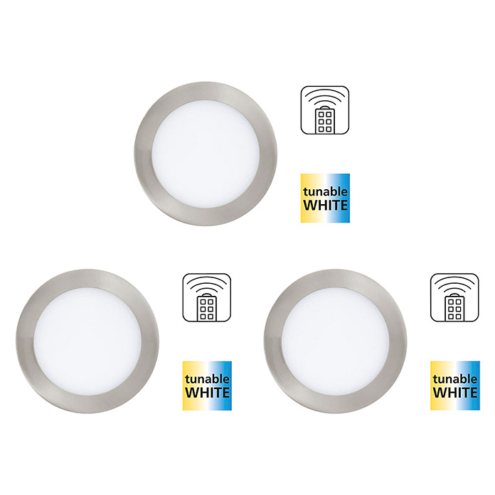 Tween Light Set de focos LED empotrables (3 x 6 W, Blanco, Diámetro: 120 mm, Níquel mate, Intensidad regulable)