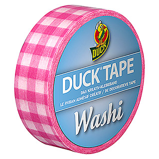 Duck Tape Kreativklebeband Washi (Pink Check, 10 m x 15 mm)