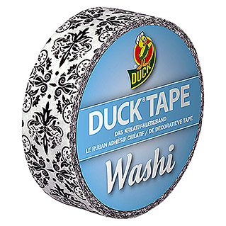 Duck Tape Kreativklebeband Washi (Black Ornament, 10 m x 15 mm)