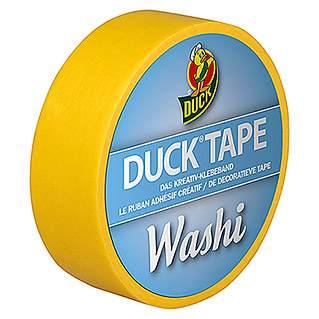 Duck Tape Kreativklebeband Washi (Bright Yellow, 10 m x 15 mm)