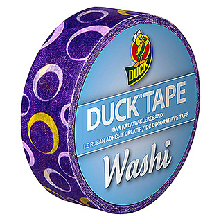 Duck Tape Kreativklebeband Washi (Purple Circle, 10 m x 15 mm)