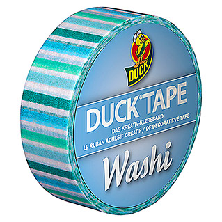 Duck Tape Kreativklebeband Washi (Blue Stripes, 10 m x 15 mm)