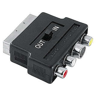 Hama Videoadapter (3 x Cinch-Kupplung, 1 x Scart-Stecker, 1 x S-Video-Kupplung, IN/OUT-Schalter)