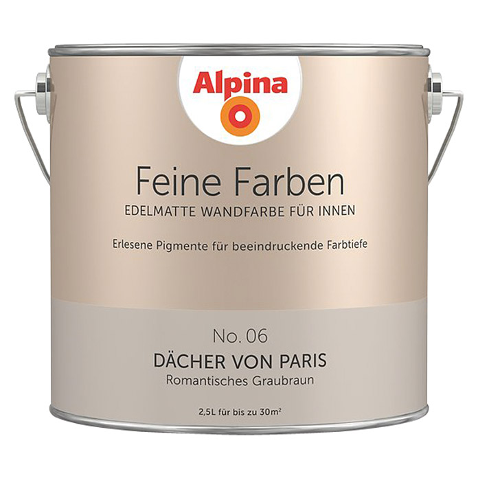 alpina feine farben d cher von paris 2 5 l no 06 romantisches graubraun matt bauhaus. Black Bedroom Furniture Sets. Home Design Ideas