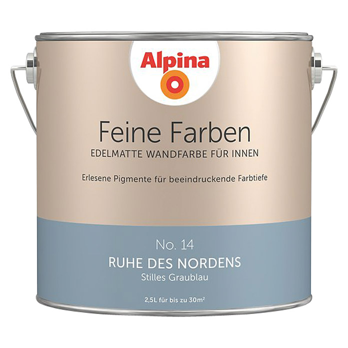 alpina feine farben ruhe des nordens 2 5 l matt no 14 stilles graublau bauhaus. Black Bedroom Furniture Sets. Home Design Ideas