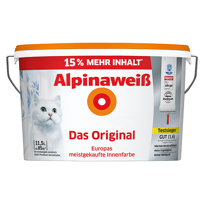 Alpina Alpinaweiß Dispersionsfarbe Das Original (11,5 L, Matt)