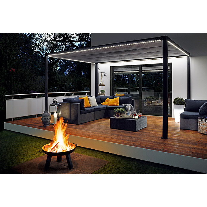 sunfun led pavillon 3 x 4 x 2 4 m anthrazit per app steuerbar bauhaus. Black Bedroom Furniture Sets. Home Design Ideas