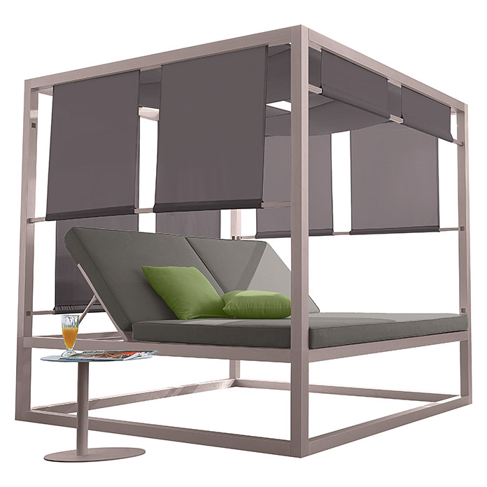pavillon sunbed lena 200 x 200 x 200 cm silbergrau. Black Bedroom Furniture Sets. Home Design Ideas