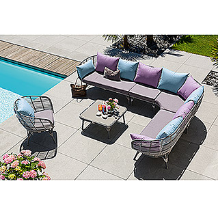 Sunfun Loungemöbel-Set Luise (6-tlg., Anthrazit)