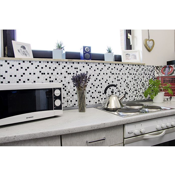 VINYL MOSAIK SQUARE BLACK/WHITE SVM 24082 4ER PACK
