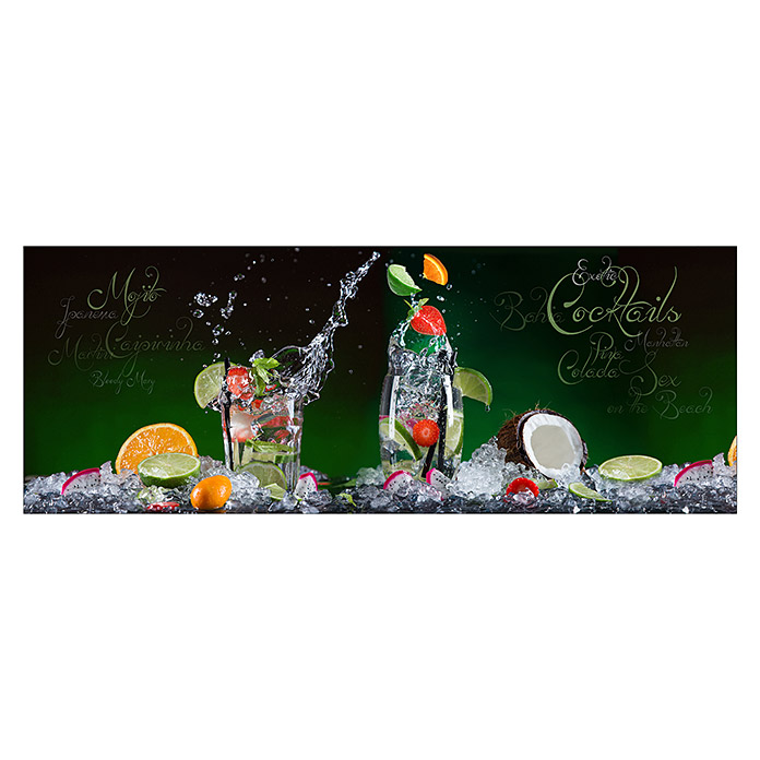 Glasbild (Exotic Cocktails, 125 x 50 cm) -