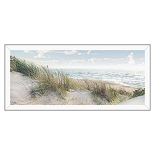 Gerahmtes Bild Oversized (Baltic Sea Coast, 124 x 50 cm, Weiß)