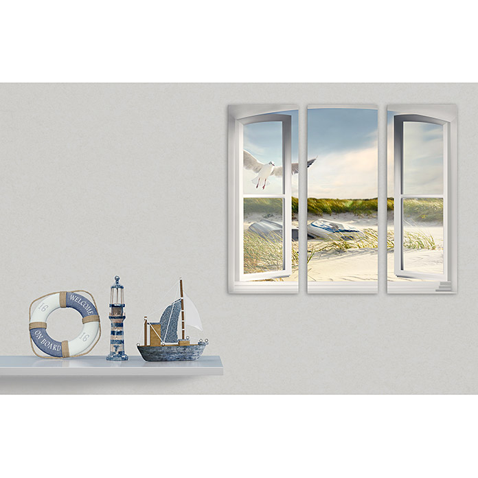 Glasbild (Open Window, 3-tlg., Je 30 x 80 cm)