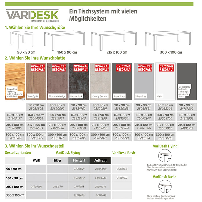 Resopal Garten-Tischplatte Vari Desk (300 x 100 cm, Resopal, Mountain Lodge)