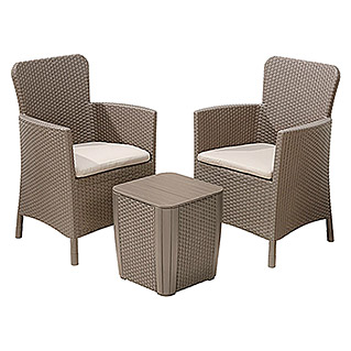 Allibert Loungemöbel-Set Miami (3-tlg., Cappuccino)