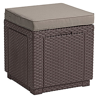 Allibert Lounge-Hocker Cube (42 x 42 x 39 cm, Polypropylen, Braun)
